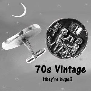Big Funky Vintage Round Cufflinks